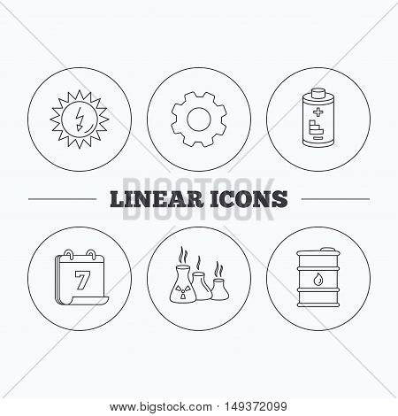 Solar energy, battery and oil barrel icons. Industries linear sign. Flat cogwheel and calendar symbols. Linear icons in circle buttons. Vector