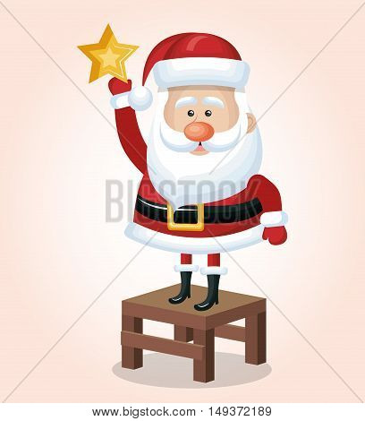 happy santa stand on chair with star golden vector illustration