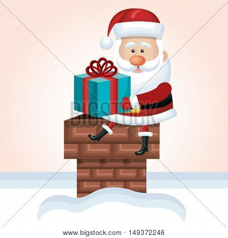 santa claus sit on chimney with gift snow isolated vector illustration