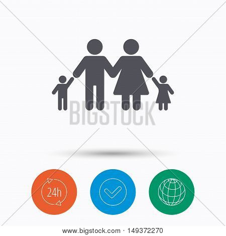 Family icon. Father, mother and child symbol. Check tick, 24 hours service and internet globe. Linear icons on white background. Vector