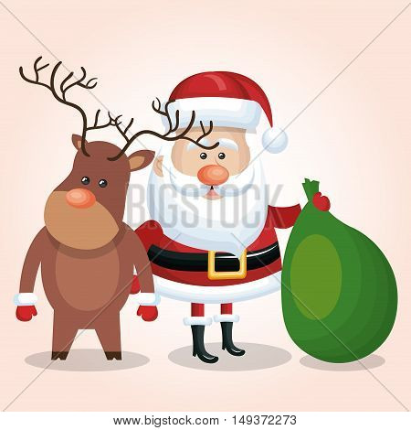 santa claus and reindeer with bag gift vector illustration