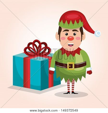 christmas elf with big gift isolated graphic vector illustration