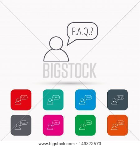 FAQ service icon. Support speech bubble sign. Human symbol. Linear icons in squares on white background. Flat web symbols. Vector