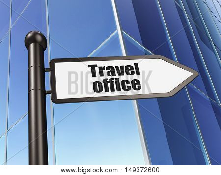 Vacation concept: sign Travel Office on Building background, 3D rendering