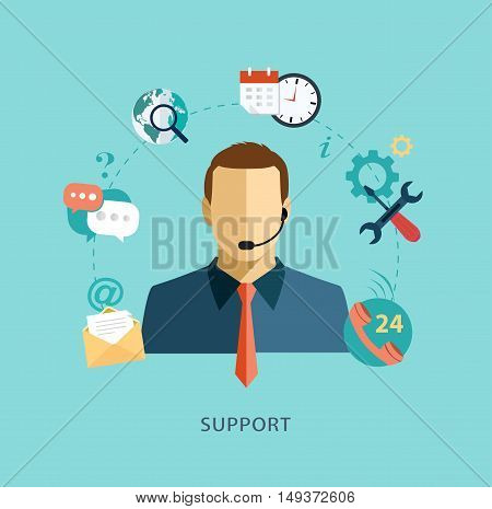 Man support operator Flat illustration. Vector concept for call center, client support service
