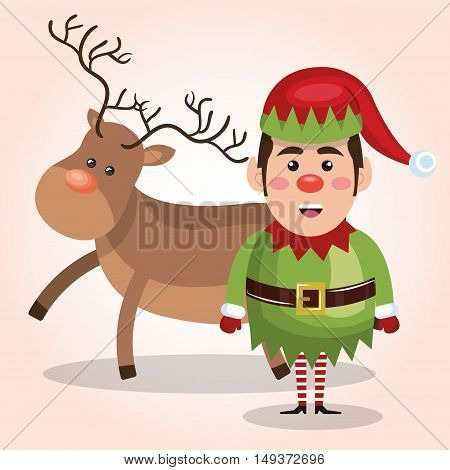 elf reindeer christmas card design isolated vector illustration