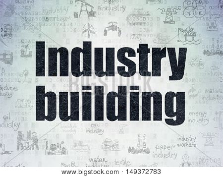Industry concept: Painted black text Industry Building on Digital Data Paper background with   Hand Drawn Industry Icons