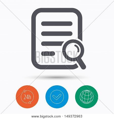 File search icon. Document page with magnifier tool symbol. Check tick, 24 hours service and internet globe. Linear icons on white background. Vector