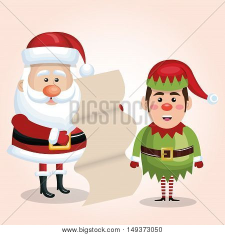 santa claus with elf and list gift design isolated vector illustration