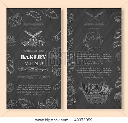 Bakery design template chalkboard vintage style. Baking products. Bakery shop bakery basket fresh bread and buns hand drawn vector illustration
