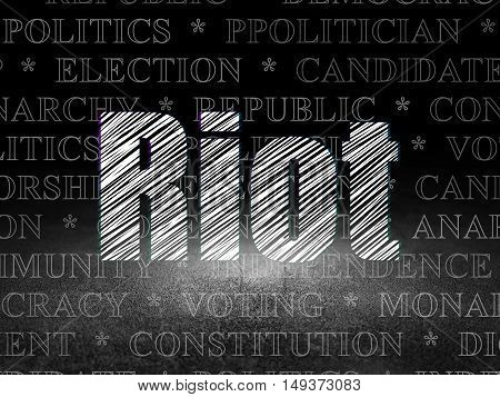 Politics concept: Glowing text Riot in grunge dark room with Dirty Floor, black background with  Tag Cloud