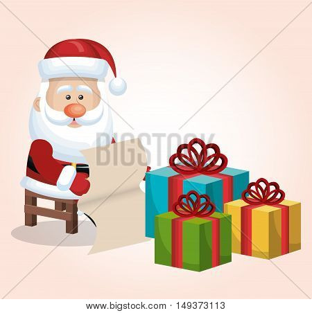 card santa claus sitting with boxes gift list isolated vector illustration