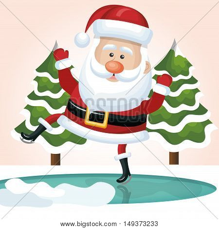 santa claus jump on ice with tree design vector illustration