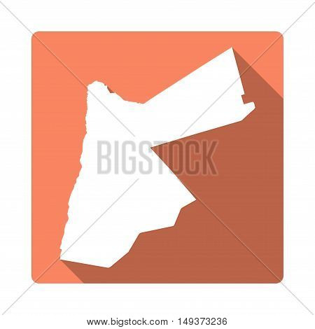 Vector Jordan Map Button. Long Shadow Style Jordan Map Square Icon Isolated On White Background. Fla