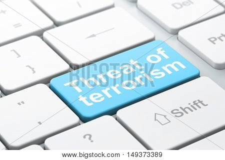 Politics concept: computer keyboard with word Threat Of Terrorism, selected focus on enter button background, 3D rendering