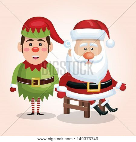 card santa claus sit with elf design isolated vector illustration eps 10