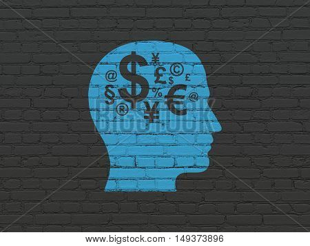 Learning concept: Painted blue Head With Finance Symbol icon on Black Brick wall background