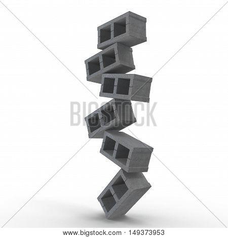 Stack of Cinder Block Bricks isolated on white background. 3D illustration
