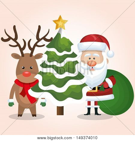 chrsitmas card santa deer and tree with bag gift design vector illustration