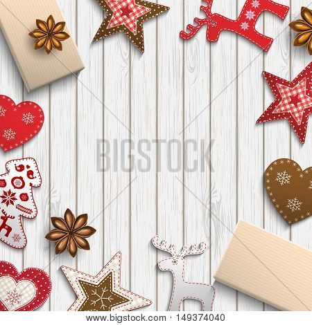 Christmas background, small scandinavian styled red decorations lying on dark white wooden desk, inspired by flat lay style, vector illustration, eps 10 with transparency