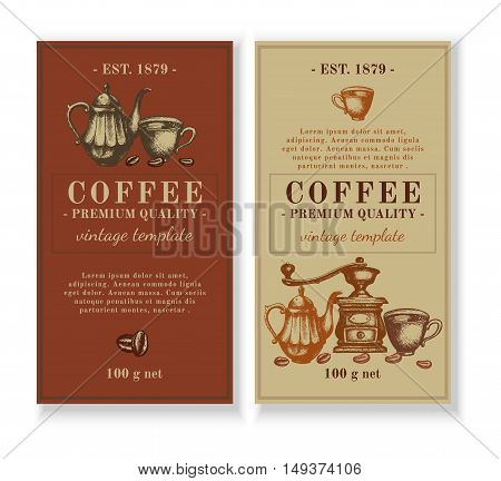 Packaging design for coffee retro vintage coffee hand drawn ink vector