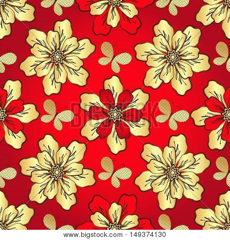 Floral vivid red seamless pattern with vintage golden flowers and butterflies vector