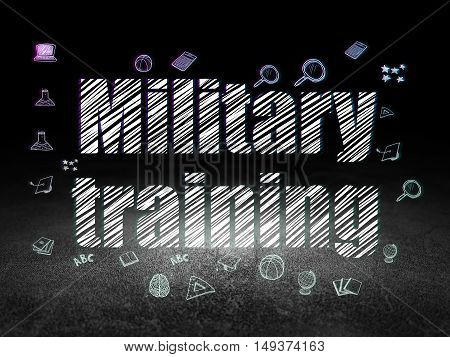 Studying concept: Glowing text Military Training,  Hand Drawn Education Icons in grunge dark room with Dirty Floor, black background
