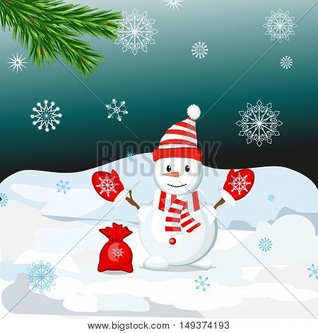 Snowman vector illustration frozen character man on white background. Happy cute white snowman hat. Snow holiday cold celebration snowman december cartoon symbol.