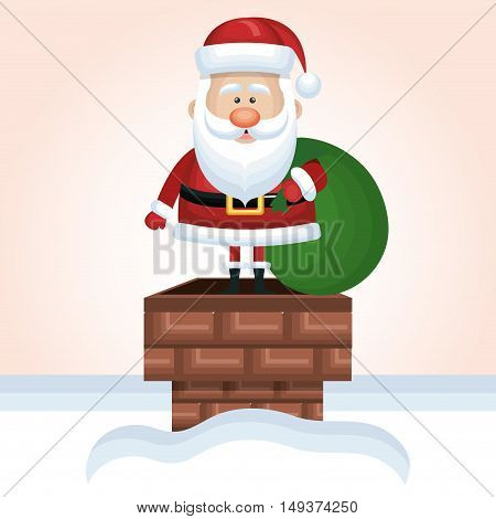 santa claus up chimney with bag gift snow design graphic vector illustration