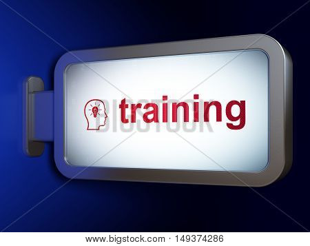Learning concept: Training and Head With Lightbulb on advertising billboard background, 3D rendering