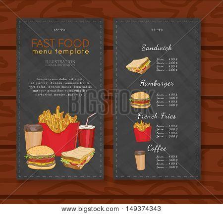 Fast food menu design template fast food vector