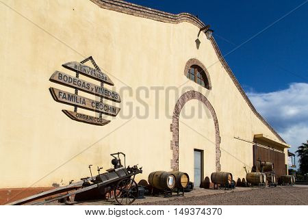 Mendoza, Argentina - November 23, 2015: Main builing of the Familia Cecchin vineyard, who produces organic wines