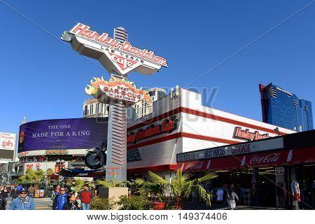 LAS VEGAS - DEC 24: Harley Davidson Cafe on Las Vegas Strip on Dec 24, 2015 in Las Vegas, Nevada, USA.