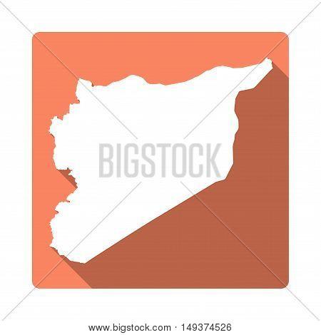 Vector Syrian Arab Republic Map Button. Long Shadow Style Syrian Arab Republic Map Square Icon Isola