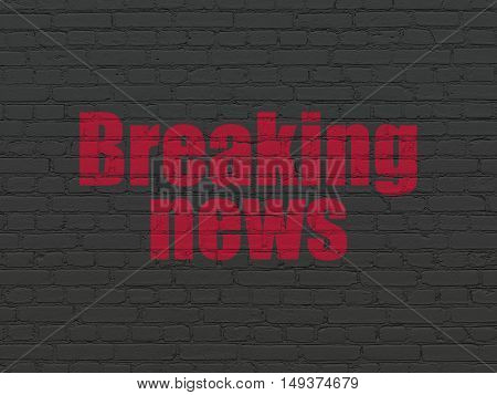 News concept: Painted red text Breaking News on Black Brick wall background