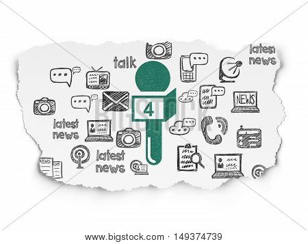News concept: Painted green Microphone icon on Torn Paper background with  Hand Drawn News Icons