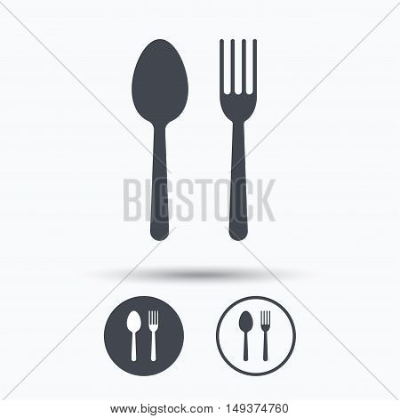 Food icons. Fork and spoon signs. Cutlery symbol. Circle buttons with flat web icon on white background. Vector
