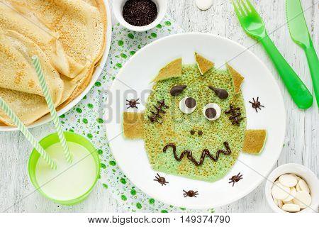 Frankenstein pancakes for kids breakfast top view