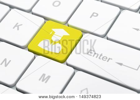 Science concept: computer keyboard with Student icon on enter button background, selected focus, 3D rendering