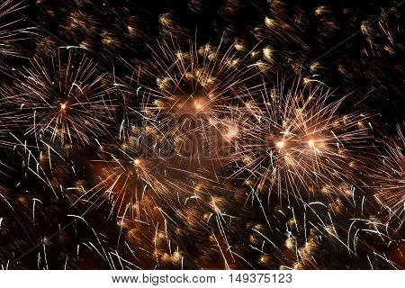colorful fireworks launched into the night sky