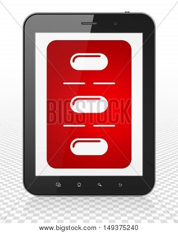 Healthcare concept: Tablet Pc Computer with red Pills Blister icon on display, 3D rendering