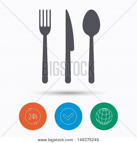 Fork, knife and spoon icons. Cutlery symbol. Check tick, 24 hours service and internet globe. Linear icons on white background. Vector