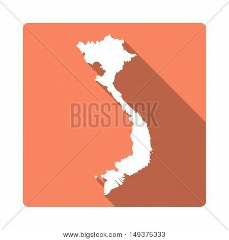 Vector Vietnam Map Button. Long Shadow Style Vietnam Map Square Icon Isolated On White Background. F