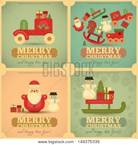 Merry Christmas and Happy New Year Cards Set in Retro Style. Vintage Toys Collection - Wooden Santa Claus Snowman Train. Square format. Vector Illustration.