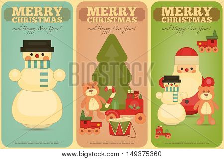 Merry Christmas and Happy New Year Posters Set in Retro Style. Vintage Toys Collection - Wooden Santa Claus Snowman Train Bear and Drum. Vector Illustration.
