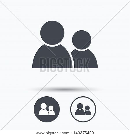 Friends icon. Group of people sign. Communication symbol. Circle buttons with flat web icon on white background. Vector