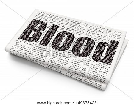 Health concept: Pixelated black text Blood on Newspaper background, 3D rendering
