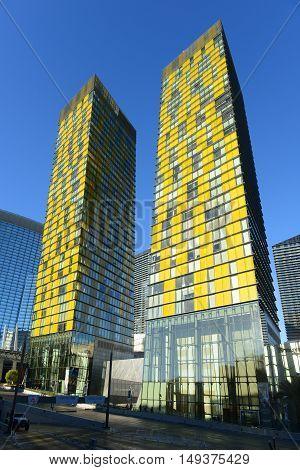 LAS VEGAS - DEC 24: Veer Towers are luxurious residential buildings opened in 2010 on Las Vegas Strip on Dec 24, 2015 in Las Vegas, Nevada, USA.