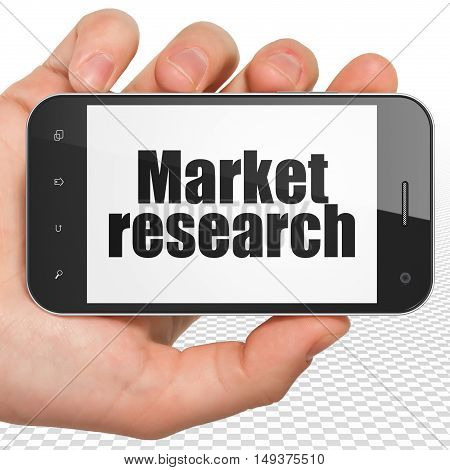 Marketing concept: Hand Holding Smartphone with black text Market Research on display, 3D rendering