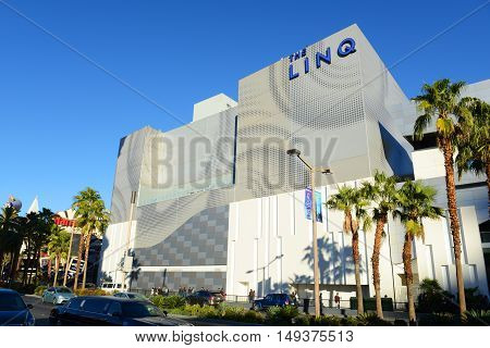LAS VEGAS - DEC 24: The LINQ Hotel and Casino is a luxury resort and casino on Las Vegas Strip on Dec. 24, 2016 in Las Vegas, Nevada, USA. The hotel is owned by Caesars Entertainment.